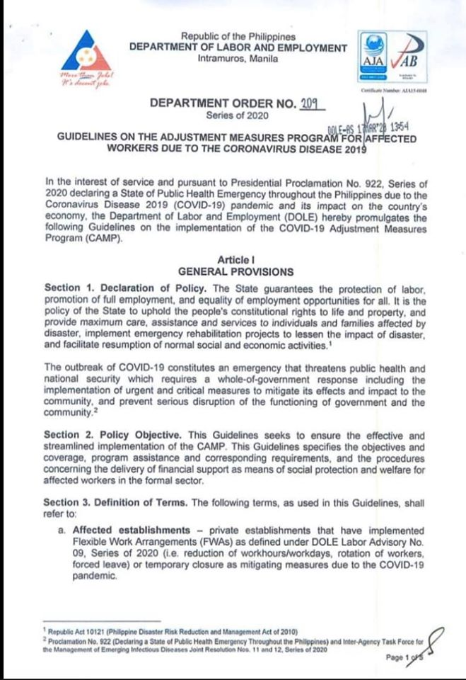 Guidelines on the Adjustment Measures Program for Affected Workers due to the Coronavirus Disease 2019
